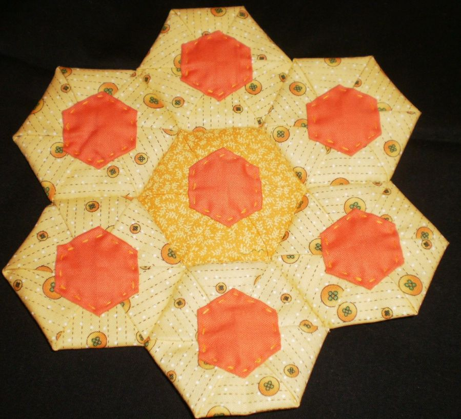 Folded Fabric Hexagons by Hand or Machine
